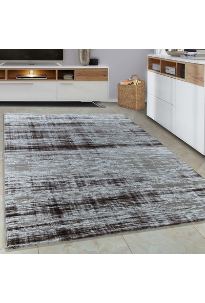 Carpettex Halı Halı Modern Desenli Taramalı Ve Çökmeli Kahverengi Bej Ve Krem 80X150 Cm
