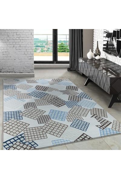 Carpettex Halı Modern Desenli Halı Çizgili Küp Tasarımı Mavi Bej Krem 80X150 Cm