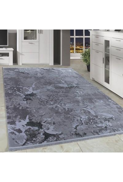Carpettex Halı Desenli Akrilik Halı Kaliteli Mermer Desenli Gri Renk Taramalı 80X150 Cm