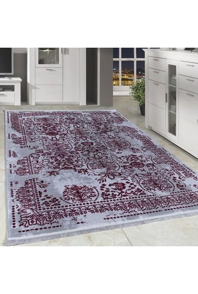 Carpettex Halı Desenli Akrilik Halı Kaliteli İran Tarzı Süslemeler Gri Fuşya Taramalı 80X150 Cm