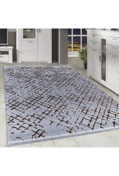Carpettex Halı Desenli Akrilik Halı Kaliteli Vinteç Kareli Gri Toprak Taramalı 80X150 Cm