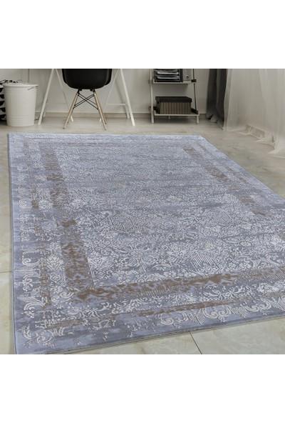 Carpettex Halı Yüksek Kalite Akrilik Halı Bordür Ve Barok Efekti Gri Bej Taramalı 80X150 Cm