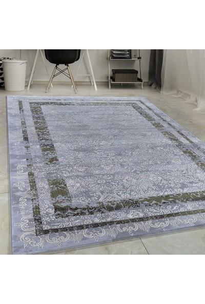 Carpettex Halı Yüksek Kalite Akrilik Halı Bordür Ve Barok Efekti Gri Yeşil Taramalı 160X235 Cm