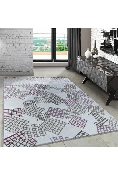 Carpettex Halı Modern Desenli Halı Çizgili Küp Tasarımı Pembe Bej Krem 80X150 Cm