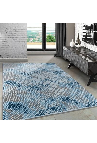Carpettex Halı Modern Desenli Halı Çizgi Ve Tarama Tasarımı Mavi Bej Krem 80X150 Cm