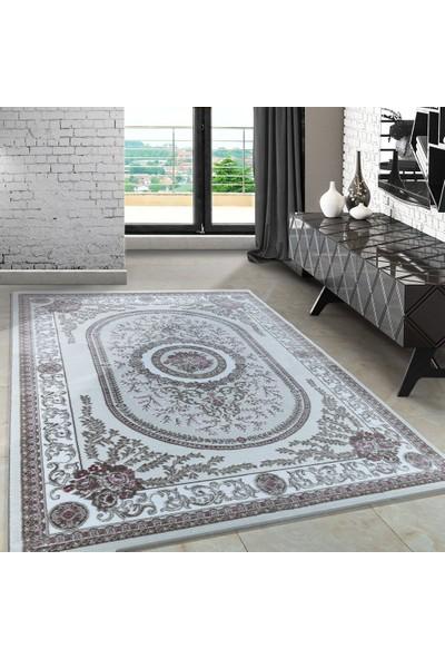 Carpettex Halı Klasik Desenli Halı Madalyon Ve Çiçek Efekti Pembe Bej Krem 80X150 Cm