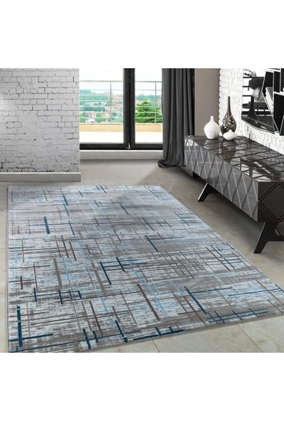 Carpettex Halı Modern Desenli Halı Çizgi Ve Tarama Efekti Mavi Bej Krem 80X150 Cm