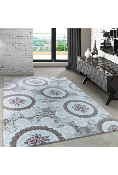 Carpettex Halı Modern Desenli Halı Dantel Ve Çiçek Tasarımlı Pembe Bej Krem 80X300 Cm