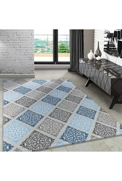 Carpettex Halı Modern Desenli Halı Kareli Barok Tasarım Mavi Bej Krem Tonları 80X150 Cm