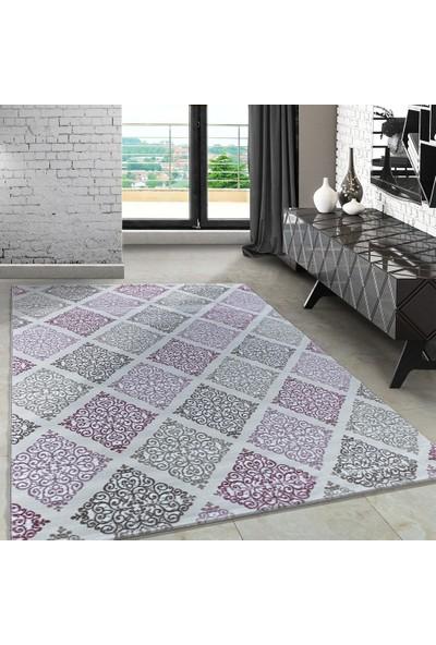Carpettex Halı Modern Desenli Halı Kareli Barok Tasarım Pembe Bej Krem Tonları 80X150 Cm