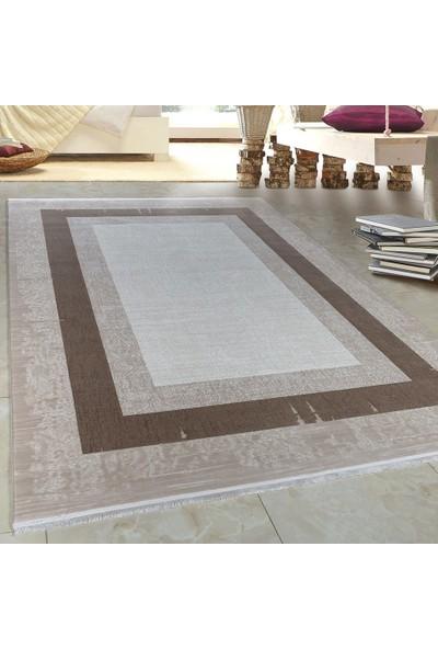 Carpettex Halı Yüksek Kalite Akrilik Halı Bordür Ve Saçaklı Kahverengi Bej Tarama 80X150 Cm