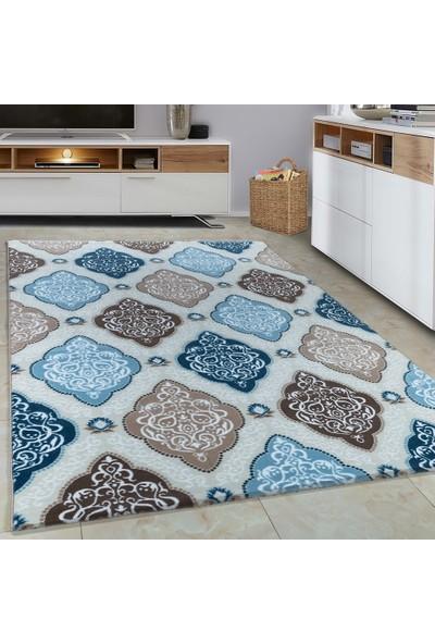 Carpettex Halı Halı Modern Barok Desenli Çökmeli Mavi Bej Krem Renkli 80X150 Cm