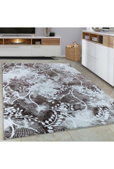 Carpettex Halı Halı Modern Desenli Dal Süslemeli Kahverengi Bej Krem Renkli 80X150 Cm