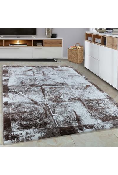 Carpettex Halı Halı Modern Desenli 3D Kütük Efekti Kahverengi Bej Krem Renkli 80X150 Cm
