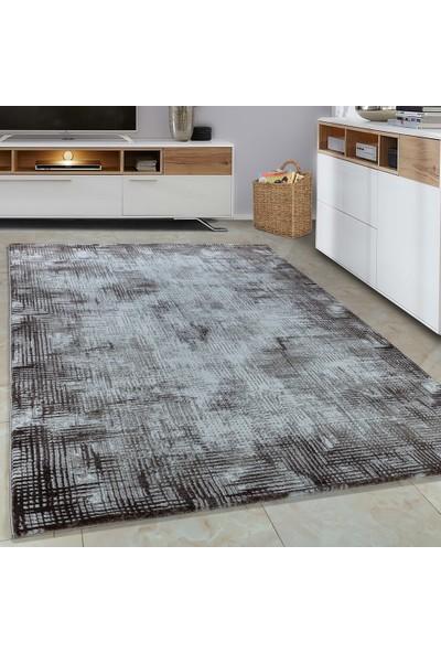 Carpettex Halı Halı Modern Desenli 3D Çizgili Kahverengi Bej Krem Taramalı 80X150 Cm