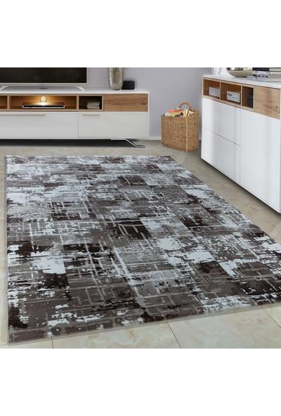 Carpettex Halı Halı Modern Desenli 3D Taramalar Kahverengi Bej Krem 80X150 Cm