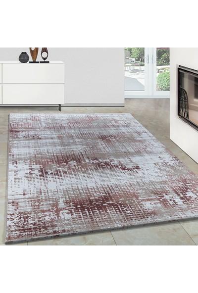 Carpettex Halı Modern Desenli Akrilik Halı Çizgi Efekti Pembe Bej Krem Renkli 80X150 Cm