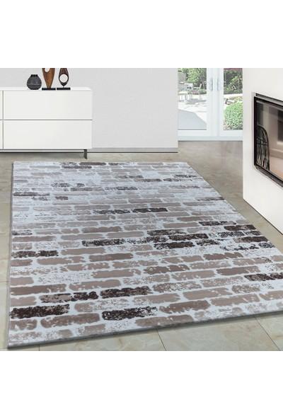 Carpettex Halı Modern Desenli Akrilik Halı Taş Örgü Efekti Kahverengi Bej Krem 80X150 Cm
