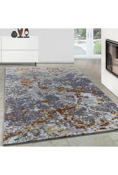 Carpettex Halı Modern Desenli Akrilik Halı Mermer Tarama Gri Ve Karışık Renkli 80X150 Cm