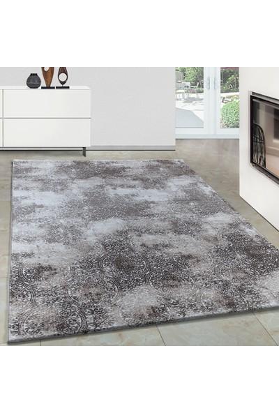 Carpettex Halı Modern Desenli Akrilik Halı Vinteç Tasarım Kahverengi Bej Krem 80X150 Cm
