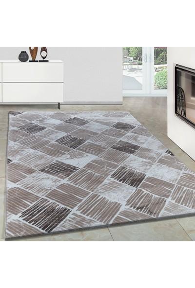 Carpettex Halı Modern Desenli Akrilik Halı Kareli Ve Çizgili Tasarım Kahve Bej Krem 80X150 Cm
