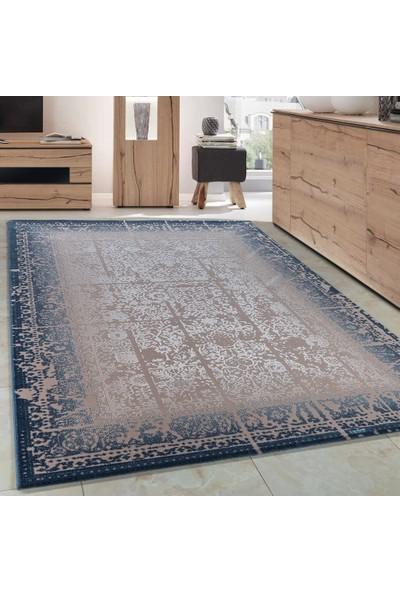 Carpettex Halı Klasik Desenli Akrilik Halı Eskitme Antika Efekti Mavi Bej Renk 80X150 Cm