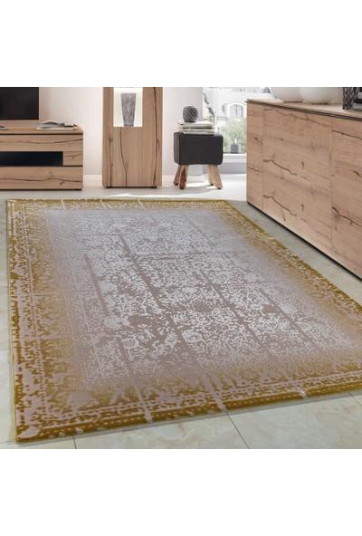 Carpettex Halı Klasik Desenli Akrilik Halı Eskitme Antika Efekti Sarı Bej Renk 80X150 Cm