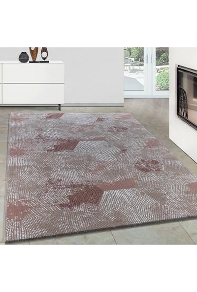 Carpettex Halı Modern Desenli Akrilik Halı Geometrik Motifler Pembe Taramalar 80X150 Cm