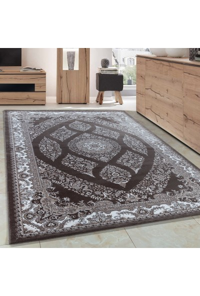 Carpettex Halı Klasik Akrilik Halı İran Tarzı Çizimler Kahverengi Bej Krem Renkli 80X150 Cm