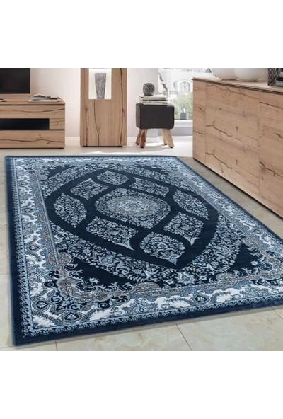 Carpettex Halı Klasik Akrilik Halı İran Tarzı Çizimler Mavi Krem Renkli 80X150 Cm