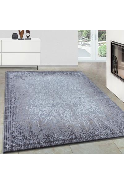 Carpettex Halı Modern Desenli Akrilik Halı Kareler Ve Motifler Gri Taramalar 80X150 Cm