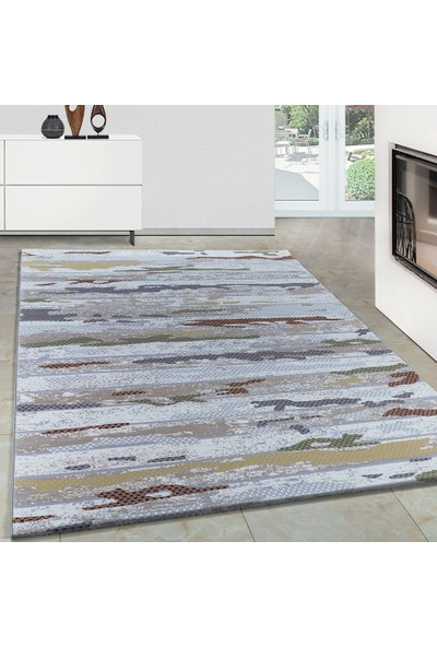 Carpettex Halı Modern Desenli Akrilik Halı Karışık Renkli Taramalar 80X150 Cm