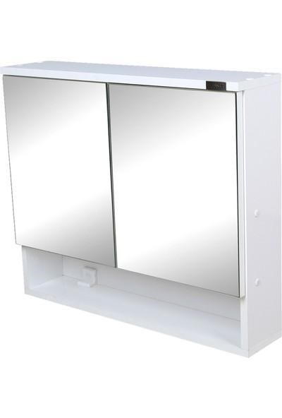 Merkez Mobilya Çift Kapaklı Aynalı Banyo Wc Dolabı