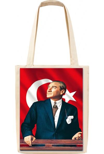 Basklı Bez Çanta Atatürk Bayraklı