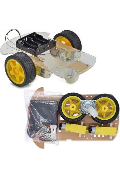 Arduino Nano Mega Uno 558 Parça 7 İn 1 Robotik Kodlama 2 Wd Tekerlekli Araba Şasesi Dıy Muhafazalı 375 Adet Led Lambalı Proje Seti