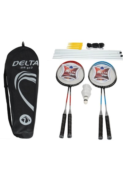 Delta Komple Full Set - 4 Badminton Raketi + 3 Top + File & Demir