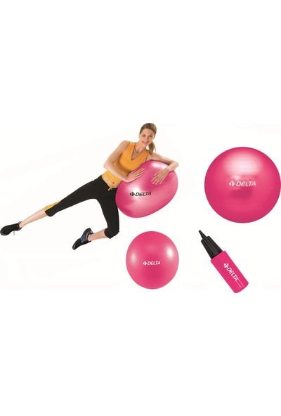 Delta 65 cm Pilates Topu 30 cm Mini Denge Topu Ve Pompası Seti