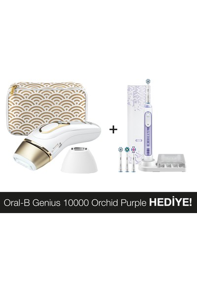 Braun Silk·Expert Pro5 PL5137 Lazer Epilasyon Hassas Bölge Ataçmanı 400.000 Atım + Oral-B Genius Orchide Purple10000 Diş Fırçası