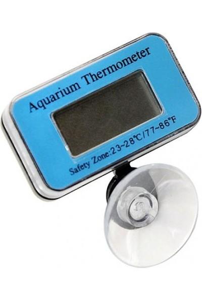GOB2C Dijital LCD LED Ekranlı Su Geçirmez Suda Çalışabilen Akvaryum Termometresi Mavi