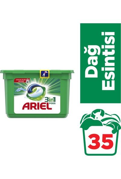 Ariel 3'ü 1 Arada Pods 35 Yıkama Sıvı Çamaşır Deterjanı Kapsülü Dağ Esintisi Beyazlar İçin