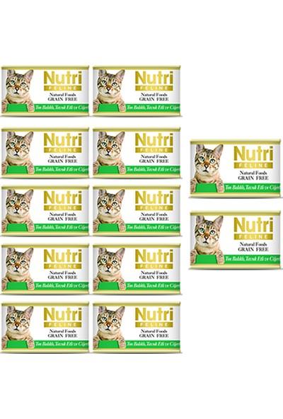 Nutri Feline Ton Balıklı Tavuk Etli ve Ciğerli Konserve Yetişkin Kedi Maması 85 gr 12 Adet