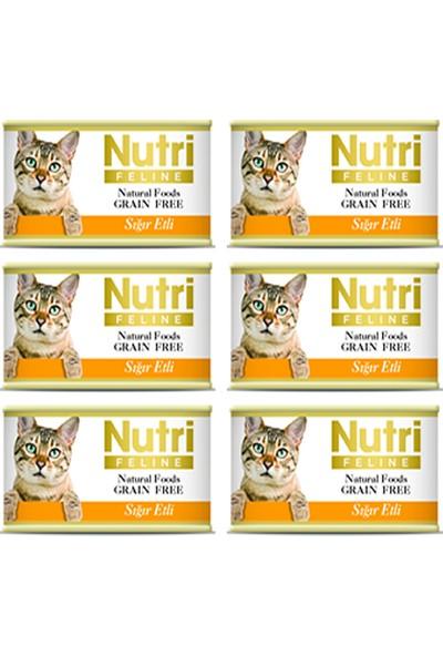 Nutri Feline Sığır Etli Konserve Yetişkin Kedi Maması 85 gr 6 Adet