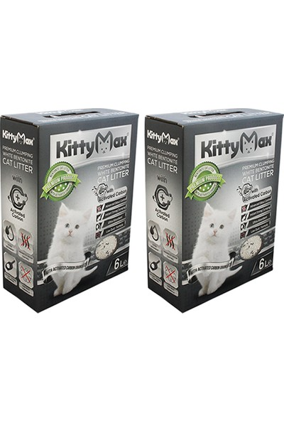 KittyMax Aktif Karbonlu Bentonit Kedi Kumu 6 lt 2 Adet