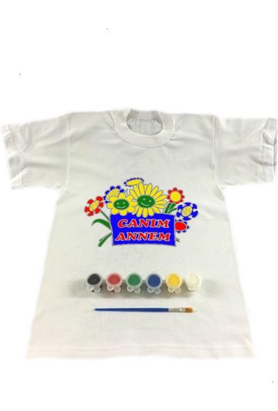 Joy Toys Canım Annem Tişört Boyama Seti - Çiçekler - Anneler Günü 4 - 5 Yaş