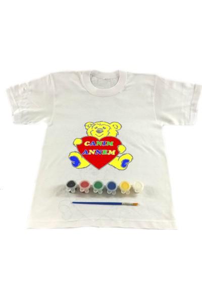 Joy Toys Canım Annem Tişört Boyama Seti -Sevimli Ayıcık - Anneler Günü 4 - 5 Yaş