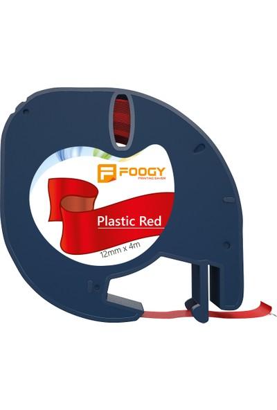 Foogy Dymo LT Muadili Plastik Şerit Etiket Kırmızı