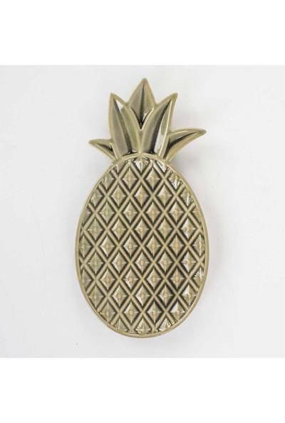 Euro Flora Bej Ananas Seramik Tabak 29 x 15 x 2,5 cm
