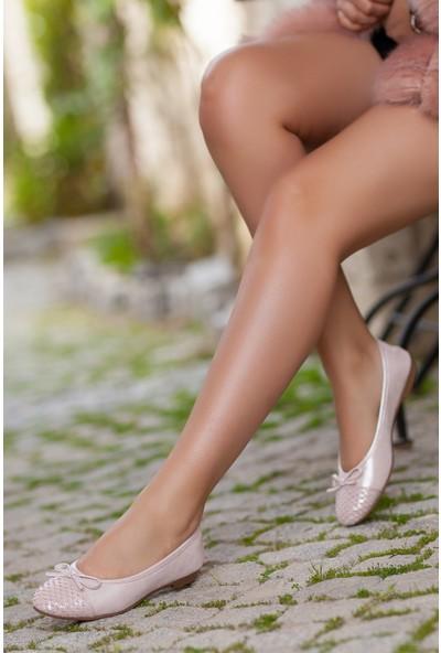 Tarçın Hakiki Deri Pudra Simli Kadın Babet Ayakkabı Trc53-0002