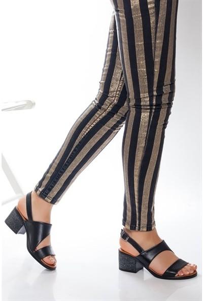 Tarçın Hakiki Deri Siyah Günlük Kadın Topuklu Sandalet Ayakkabı Trc66-0803