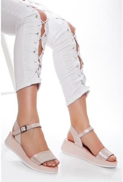 Tarçın Hakiki Deri Pudra Simli Günlük Kadın Dolgu Sandalet Ayakkabı Trc66-5017